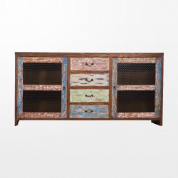 Grand buffet en bois multicolore recyclé
