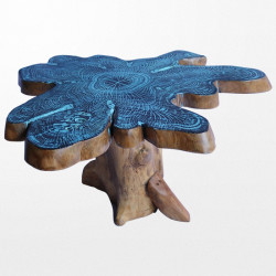 Table de salon en bois massif bleue