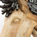 Grande sculpture d'animal design en bois massif en forme de cheval