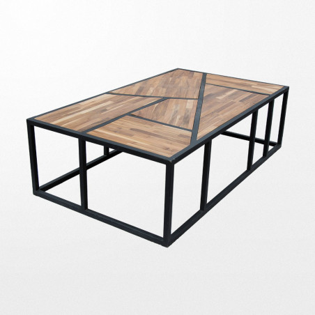 Table basse en teck et sa structure en fer