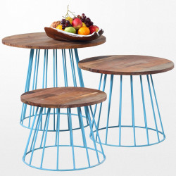 Ensemble de 3 tables basses en bois tropical gigognes