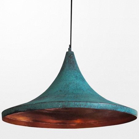 Suspension luminaire design en bronze de couleur verte