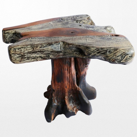 Table basse en bois design immitant la forme d'un arbre