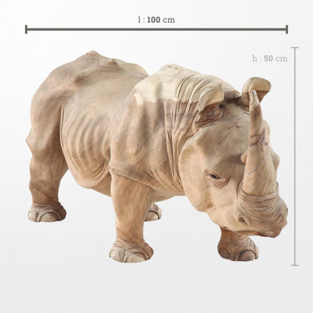 Sculpture en bois d'animal, rhinocéros de 100 x 40 x 50 cm