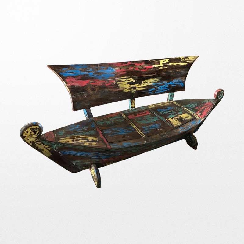 banc de jardin en bois de bateau recycl en forme de pirogue. Black Bedroom Furniture Sets. Home Design Ideas