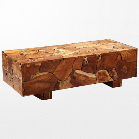 Table basse en teck 130 x 68 x 30 cm brut exotique d'Indonésie