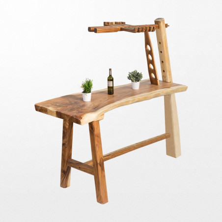 Table bar de mange debout en bois de forme brute